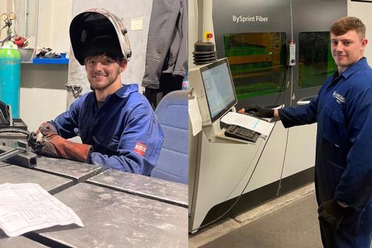 Amcanu mechanical engineering apprentice and welding apprentice at work.