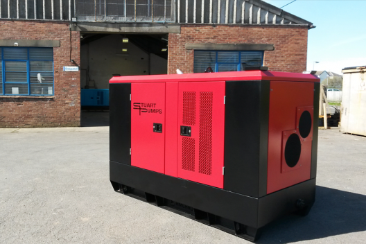 Amcanu constructed Stuart Pump enclosure on display outside the factory